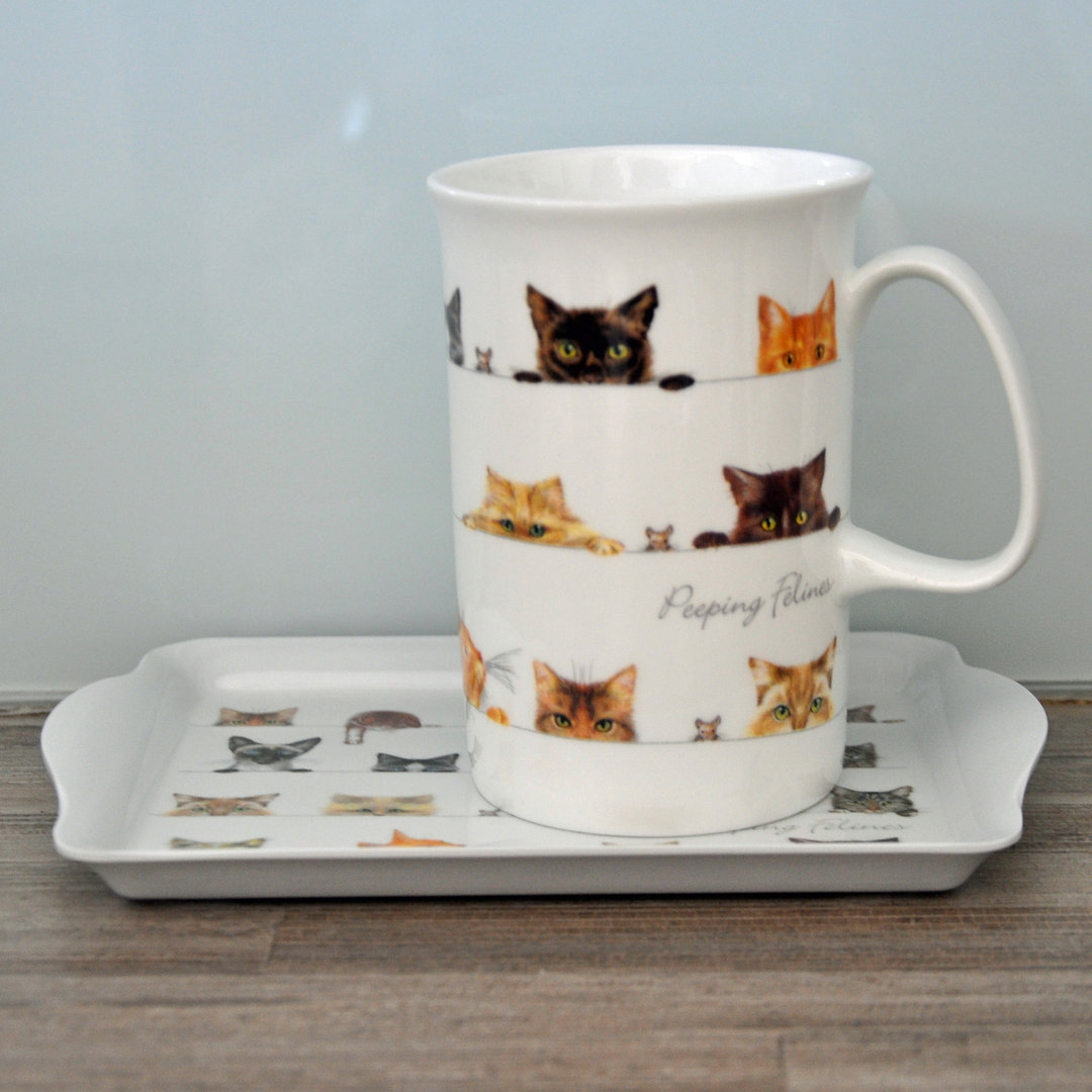 tasse becher porzellan katzen mit mini tablett callunacasa. Black Bedroom Furniture Sets. Home Design Ideas