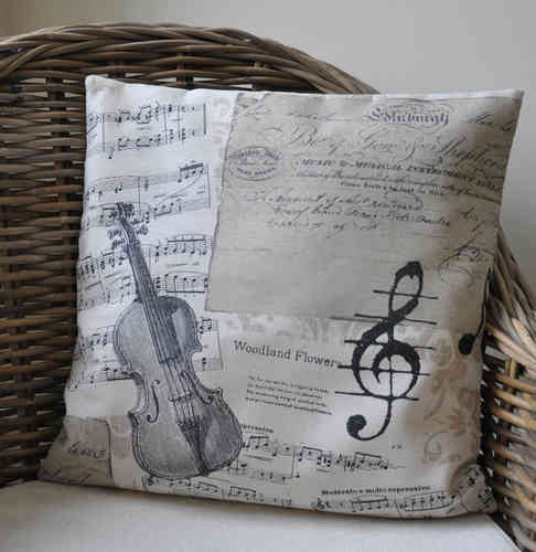 Kissenhülle 40x40 Noten Musik Creme Shabby Chic