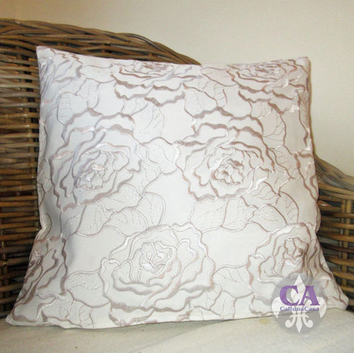 Kissenhülle 40x40 Rose Satin Stickerei