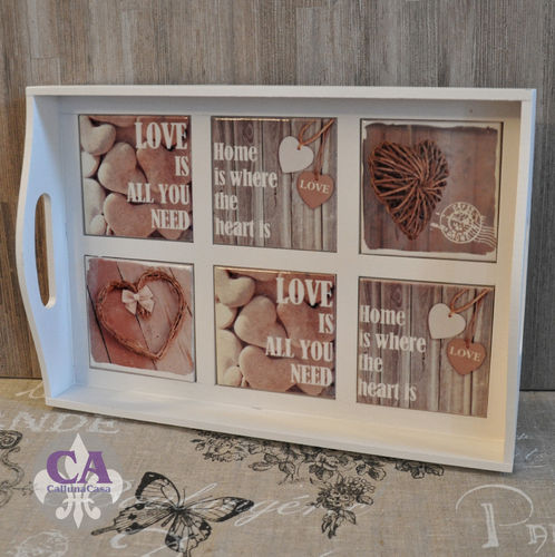 Tablett Home Heart Love Kacheln Fliesen Shabby Chic