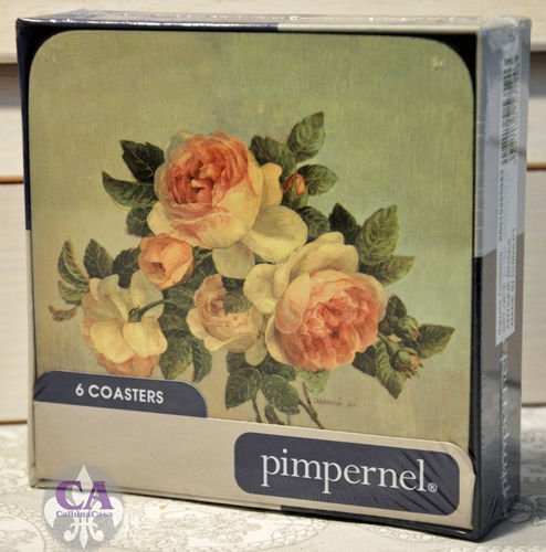 Antique Roses 6er Set Untersetzer Box Pimpernel