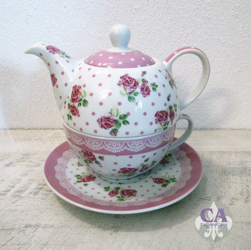 Teekanne Tasse Porzellan Tea for one Set Rose Weiss Rosa