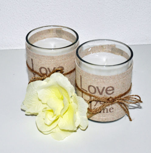 "2er Set Kerzenglas Geschenk Windlicht ""Love your Home"" Landhaus"