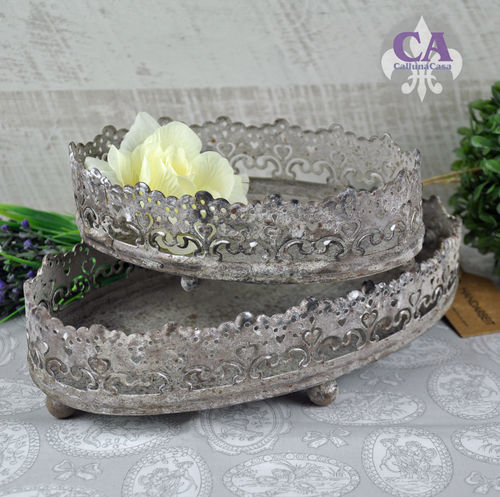 Tablett Set Grau Patina Eisen Metall Shabby Chic