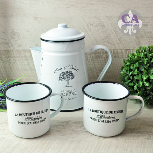Kaffee Tee Kanne Becher Set Emaille Email Outdoor Shabby